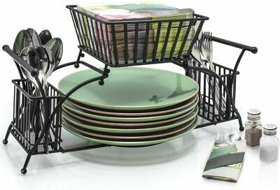 AU42.66 • Buy Sorbus Utensil Buffet Picnic Caddy Use For Napkin, Cutlery, Plate Holder (Black)
