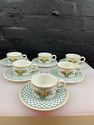 £89.99 • Buy 6 X Villeroy And & Boch Basket Tea Cups And Saucers Last Set Available
