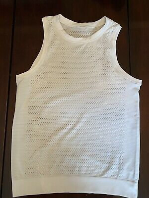 $ CDN49.99 • Buy Lululemon Breeze By Muscle Tank II Size 4 White Silverescent Shirt Top