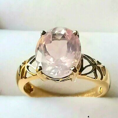 £124.99 • Buy 9ct Yellow Solid Gold Cocktail/dress Pale Pink Spinel Ring Sz N VGC