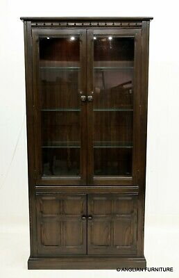 £647 • Buy Ercol Tall Glazed Bookcase With Display Cabinet, Lower Cupboard FREE UK Delivery