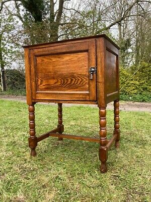 AU233.94 • Buy Vintage Antique Oak Barley Twist Lp Record Storage Cupboard Drinks Cabinet