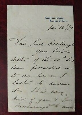 £109.99 • Buy 1877 Prince Arthur - Son Of Queen Victoria Handwritten/signed Letter