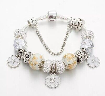 AU25 • Buy White Gold Flowers Crystal Charms With Bracelet By Pandora's Queen