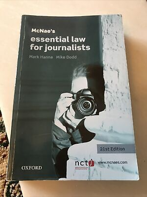 £4 • Buy McNae's Essential Law For Journalists By Mark Hanna, Mike Dodd