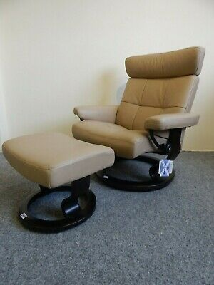 £545 • Buy Ekornes Stressless 'Oxford' Leather Recliner And Stool Size Large (257)