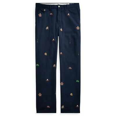 """$67.41 • Buy Polo Ralph Lauren Slim Fit Bedford Flat Pant Navy Embroidered Chino 36"""" W 34"""" L"""
