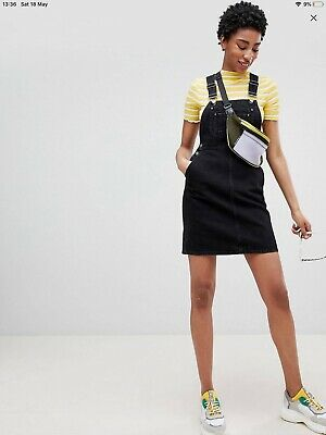 AU3 • Buy Asos Black Denim Dungaree Dress Size 6