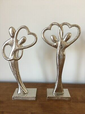 £13.99 • Buy In Love Couple Dancing Heart Ornament Silver Sculpture Couple Figurine 2 Styles