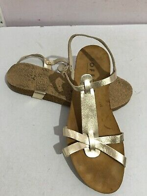 Office London Genuine Leather Gladiator Gold Womens Flat Sandals Shoes Size 6 • 0.99£