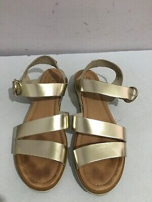 Office Genuine Leather Gladiator Gold Womens Ladies Size 6/39 Flat Sandals Shoes • 0.99£