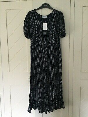 Brora Women's Navy Spot Scoop Neck Cap Sleeve Midi Dress UK 12 BNWT • 5£