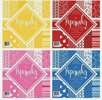 £5.99 • Buy Splashcrafts Papermaker 8x8  Paper Stack - Pink/ Blue/ Red/ Yellow FREE P&P