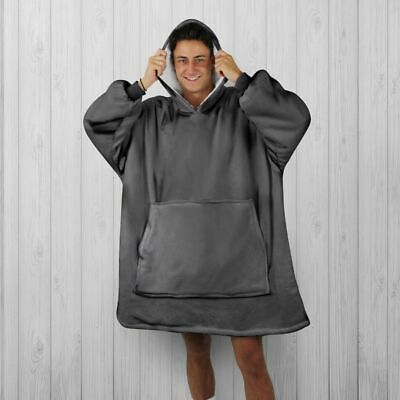 $ CDN50.51 • Buy HOODIE BLANKET By SNOOGIE Double Layer 430GSM Thick Super Warm Unisex Charcoal
