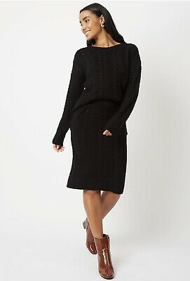 £14.50 • Buy New George Asda Black Cable Chunky Knit Knitted Knee Length Tube Skirt Large 16