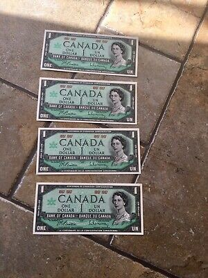 1967 BANK Of CANADA 1 DOLLAR BANKNOTE In EXCELLENT UNCIRCULATED CONDITION X 4 • 24.99£