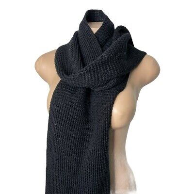 Calvin Klein Black Knit Neck Warm Soft Acrylic Winter Scarf Unisex • 12.87£