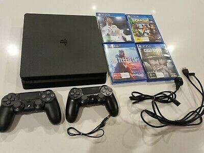 AU167.50 • Buy SONY PLAYSTATION 4 PS4 500GB SLIM  X2 CONTROLLERS  X4 GAMES + LEADS