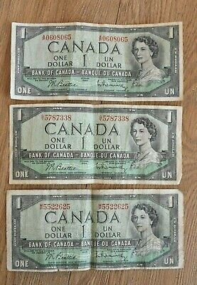 3 Canada One Dollar $1 Banknotes In Used Condition 1954 Issue. • 3.99£
