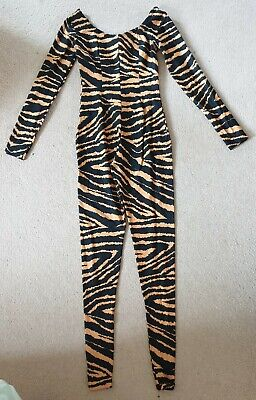 £9.99 • Buy Tiger Stripped Catsuit All In One, Dance, Approx Size 3, Ladies Size 6 / 8