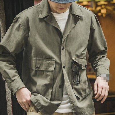 $46.49 • Buy M43 HBT Jacket Men's Vintage Military Lapel Overalls Work Army Green Casual Coat