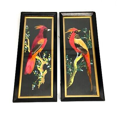 £249 • Buy Antique Victorian Watercolour & Bird Feather Painting Picture Pair / Taxidermy .