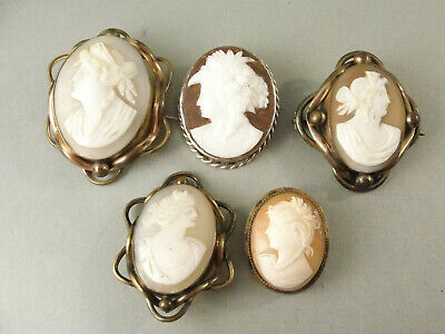 Job Lot 5 Antique CAMEO BROOCHES C1900 Yellow & White Metal • 13.50£