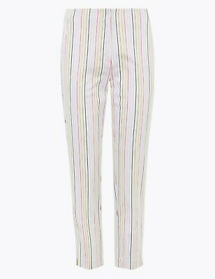 £11.99 • Buy M&S The Mia Striped Cropped Trousers Size 8 Short