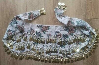 £7.99 • Buy Pretty FLORAL GOLD COIN BELLY DANCE HIP  BELT * WHITE/GREEN/ROSE