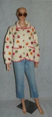 PACHAMAMA Cream Pink Mustard Green Orange 3D Floral Chunky Wool Boxy Cardigan  • 95£
