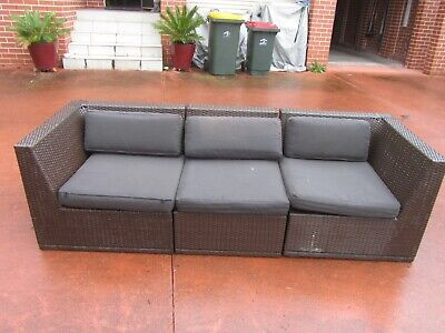 AU89.99 • Buy 3 Pcs Outdoor Furniture Wicker Rattan Lounge Setting, With Cushions, Good Cond