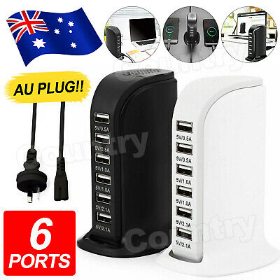 AU18.95 • Buy 6 Port Charging Station USB Desktop Charger Rapid Tower Power Adapter Wall HUB U