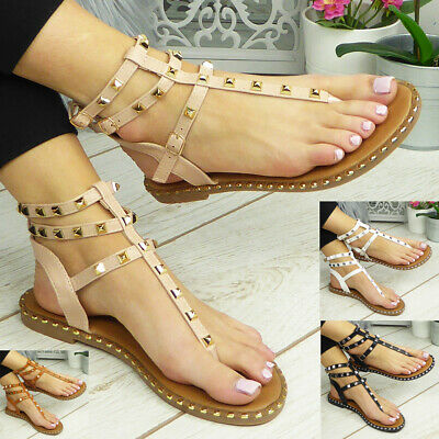 £12.90 • Buy Ladies Flats Sandals Womens Toe Post Strappy Summer Comfy Gladiator Shoes Size