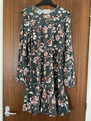 Green Floral Summer Dress Size 10 Primark Light Party Casual Work Smart Flower • 5£