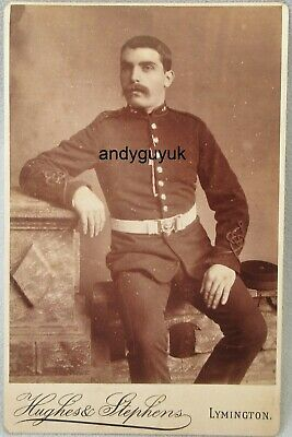 Cabinet Card Artillery Soldier Uniform Lymington Antique Victorian Photo • 8.50£