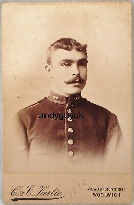 Cabinet Card Royal Artillery Soldier Woolwich Military Antique Victorian Photo • 3.95£