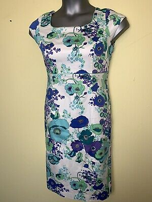 ARTIGIANO Size 12 Pencil Dress Floral White Blue Green Summer Work Holiday Cute • 3.99£