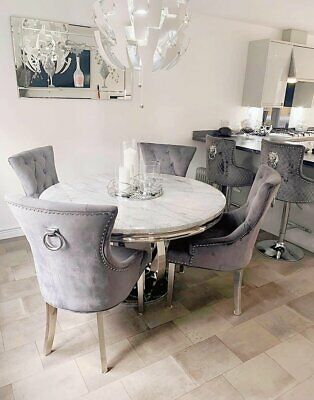 £999 • Buy Chelsea 130cm White Marble Round Dining Table + Grey Ring Knocker Chairs