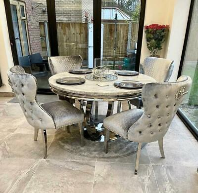 £1049 • Buy Chelsea 130cm White Marble Round Dining Table + Valente Grey Lion Button Chairs
