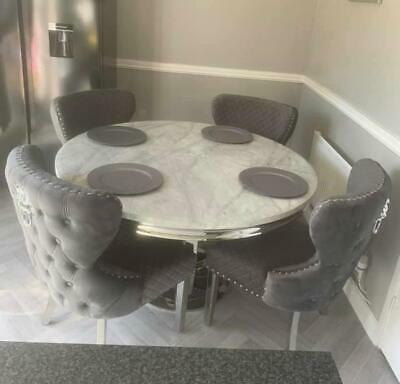 £539 • Buy Chelsea 130cm Grey Marble Round Dining Table + Grey Plush Velvet Button Chairs