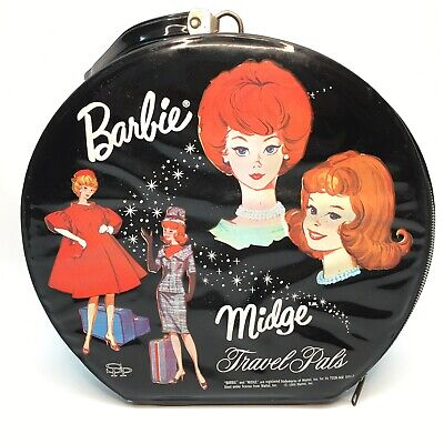 $ CDN45.95 • Buy Vintage Barbie And Midge Round Black Travel Pals Case 1964