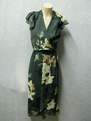 AU5.50 • Buy Size 18 CITY CHIC Black Cream Green FLORAL DRESS Party Cocktail Wedding Dinner