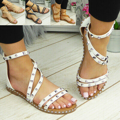 £13.90 • Buy Ladies Flats Sandals Womens Zip Strappy Summer Comfy Casual Gladiator Shoes Size