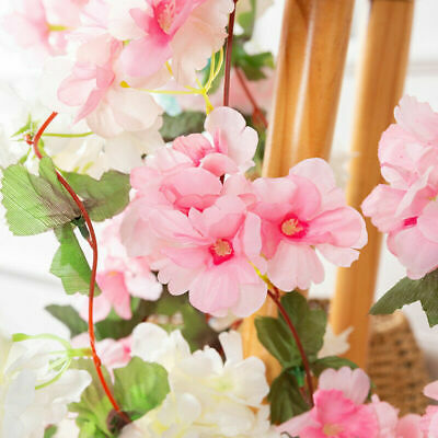 £4.69 • Buy Artificial Cherry Flowers Fake Blossoms Garland Ivy Hanging Vine Ivy Party Decor