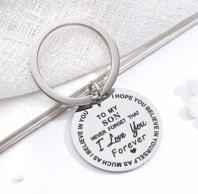 £4.99 • Buy To My Son I Love You Inspirational Key Ring Stainless Steel Charm Best Son Gift
