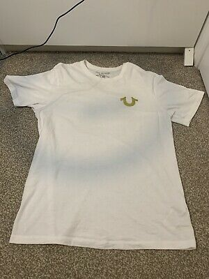 True Religion White T Shirt With Gold Buddha Size Small • 14£