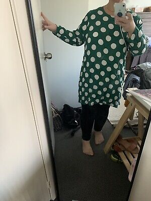AU15.50 • Buy Asos Curve 24 Tshirt Dress Green And White Spots
