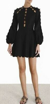 AU300 • Buy ZIMMERMANN Goldie Scalloped Linen And Cotton-blend Mini Dress In Black Size 0