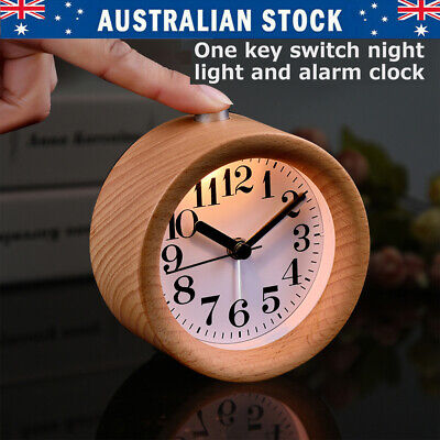 AU21.99 • Buy Modern Classic Round Silent Table Desk Snooze Beech Wood Alarm Clock Night Light
