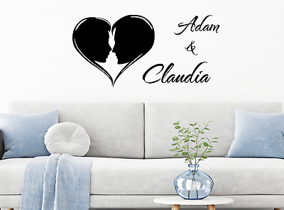 £5.12 • Buy Personalised Name Heart Wall Sticker Couple Family Love Decal Decor Art Vinyl